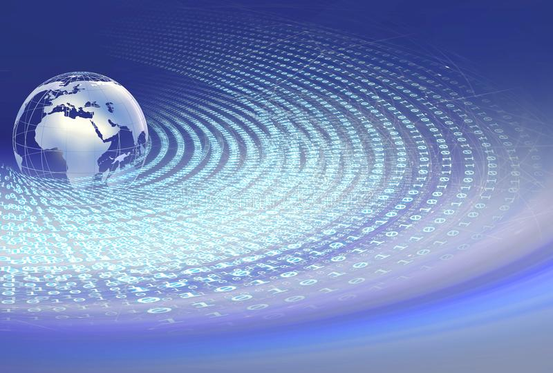 Digital-Weltbinär code um Erdkugel mit Verbindung stock abbildung