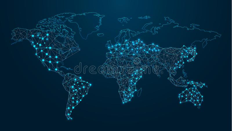 Digital-Weltkarte technologien lizenzfreie abbildung