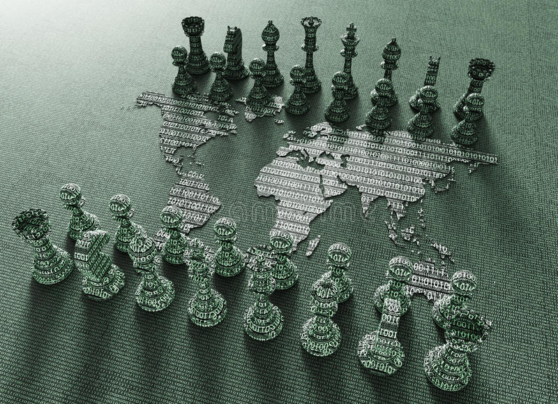 Digital-Weltkarteschachbrett mit Schachspiel lizenzfreie abbildung