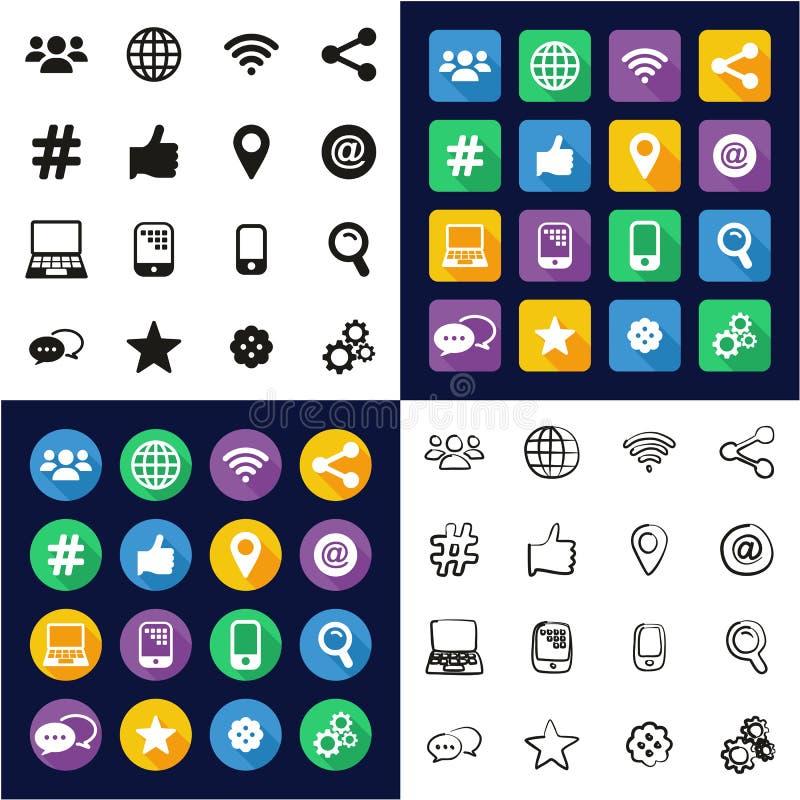 Digital-Werbungs-Ikonen alle in den Ikonen eine schwarz u. im weiße Farbflachen Design freihändig eingestellt stock abbildung