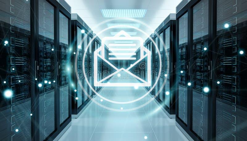 Emails exchange over server room data center 3D rendering stock illustration