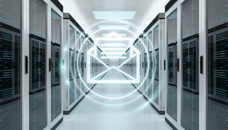 Emails exchange over server room data center 3D rendering. Digital white emails exchange over server room data center interior 3D rendering vector illustration