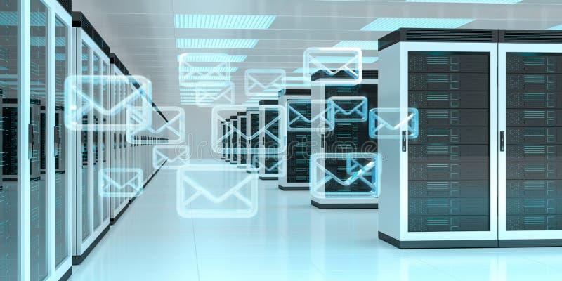 Emails exchange over server room data center 3D rendering royalty free illustration