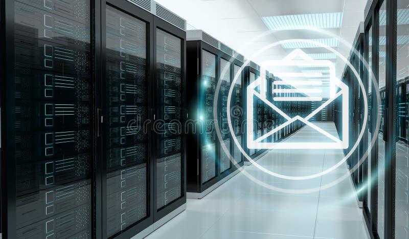 Emails exchange over server room data center 3D rendering vector illustration