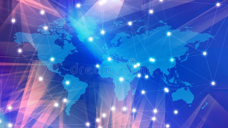 Digital white wires international cyberspace, world map and lines connected. Connected dots with lines and graphic world map, creative abstract background stock photos