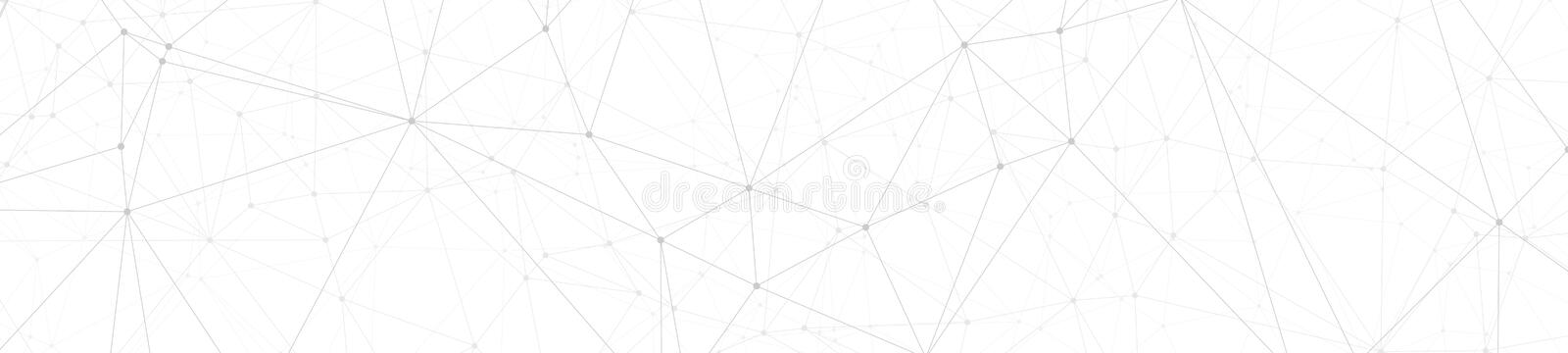 Digital wires tech communication, abstract polygonal concept, vector lines and circle dots connected, wide banner or header. Technology science background royalty free illustration