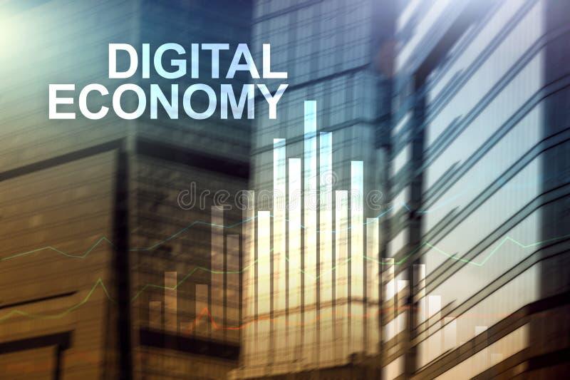 Digital-Wirtschaft, Finanztechnologiekonzept auf unscharfem Hintergrund stockbild