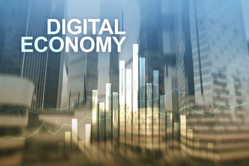 Digital-Wirtschaft, Finanztechnologiekonzept auf unscharfem Hintergrund stockfotos