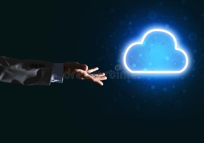 Download Digital-Wolkenikone Als Symbol Der Drahtlosen Verbindung Auf Dunklem Hintergrund Stockfoto - Bild von internet, netz: 96925540