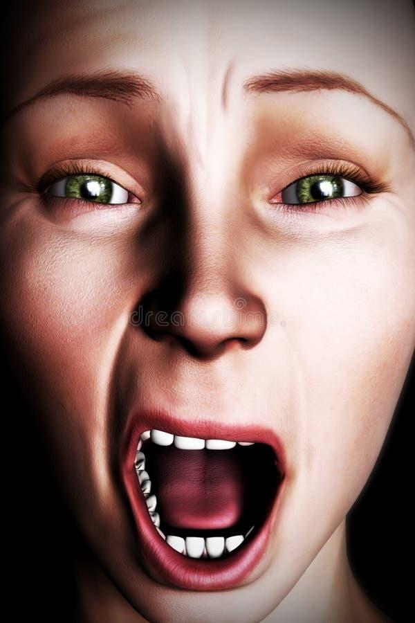 Digital Woman's Face Screaming Illustration. Digital painting of a close up of woman's face screaming vector illustration