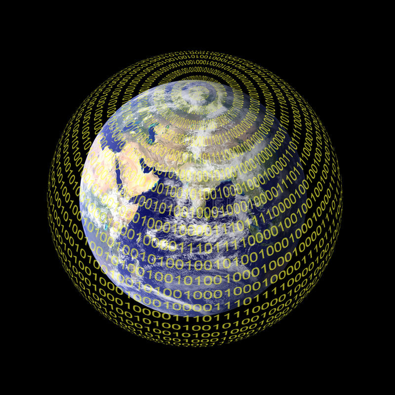 A Digital World. Conceptual image showing the Earth enveloped by the digital world signifying a transformation of almost all types of information into a vector illustration