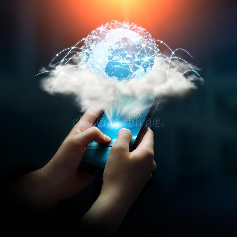 Digital world in a cloud connected to businesswoman mobile phone stock illustration