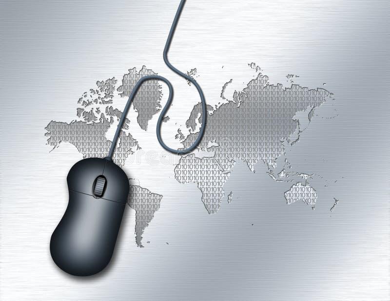 Digital World. Computer mouse. World map background stock illustration