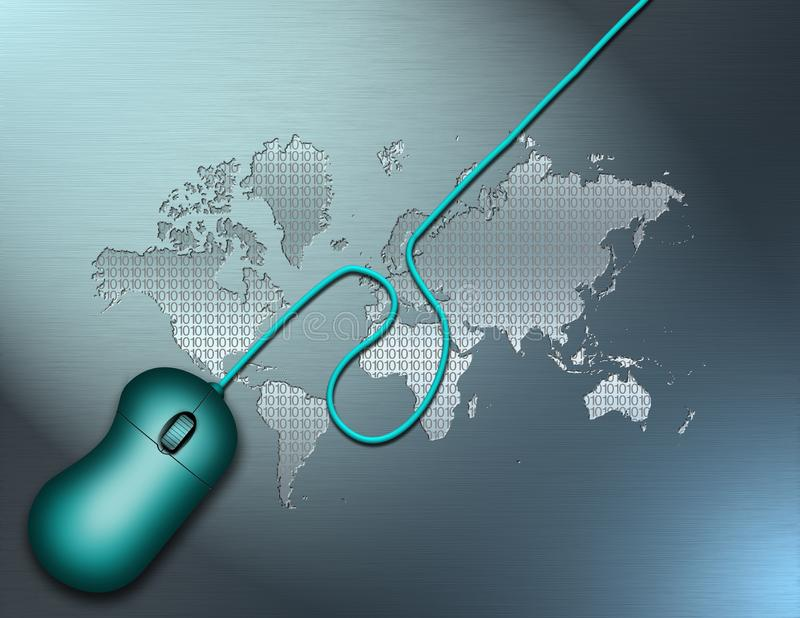 Digital World. Computer mouse. World map with digital code background stock illustration