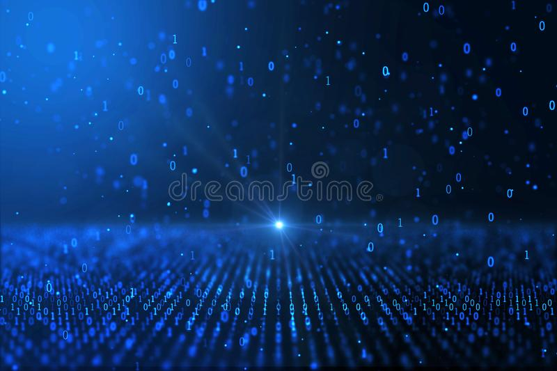 Digital world concept computer generated blue binary background stock illustration