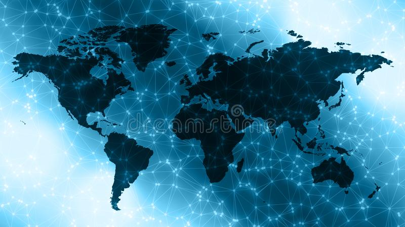 Digital world continents, connected white dots and lines. Connected dots with lines and graphic world map, creative abstract background. Global business or stock image