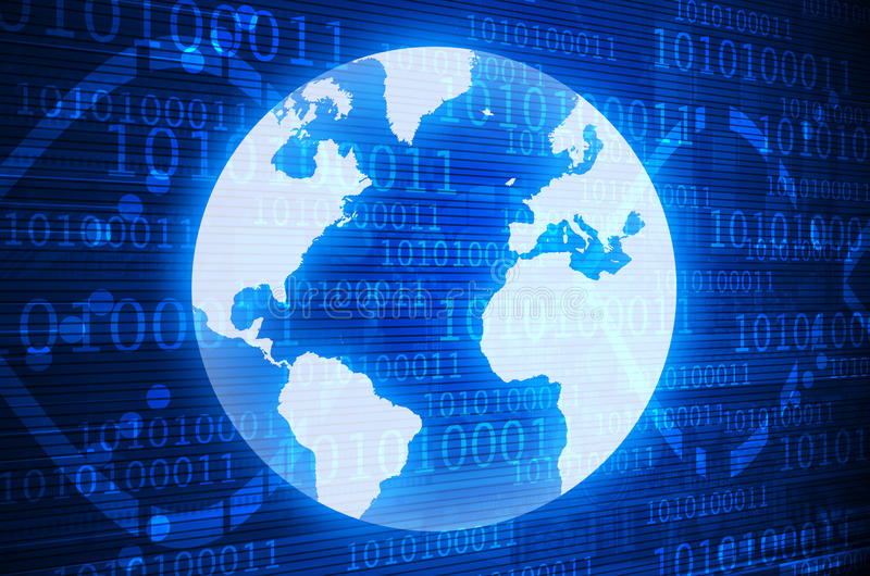 Digital world on a dark blue background stock image
