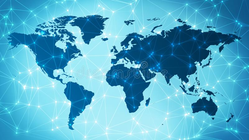 Digital world globalization technology creative graphic background. Connected dots with lines and graphic world map, creative abstract background. Global stock images