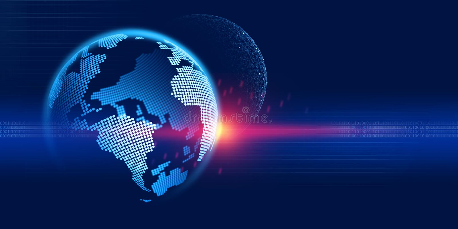 Digital world. Information technology of the future. Research in the field of nanotechnology. 3d illustration on a dark blue background royalty free illustration
