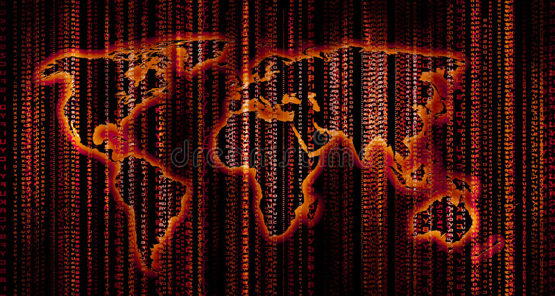 Digital world map. Red codes flowing over the world map royalty free stock photo