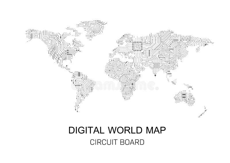 Digital world map stock illustration