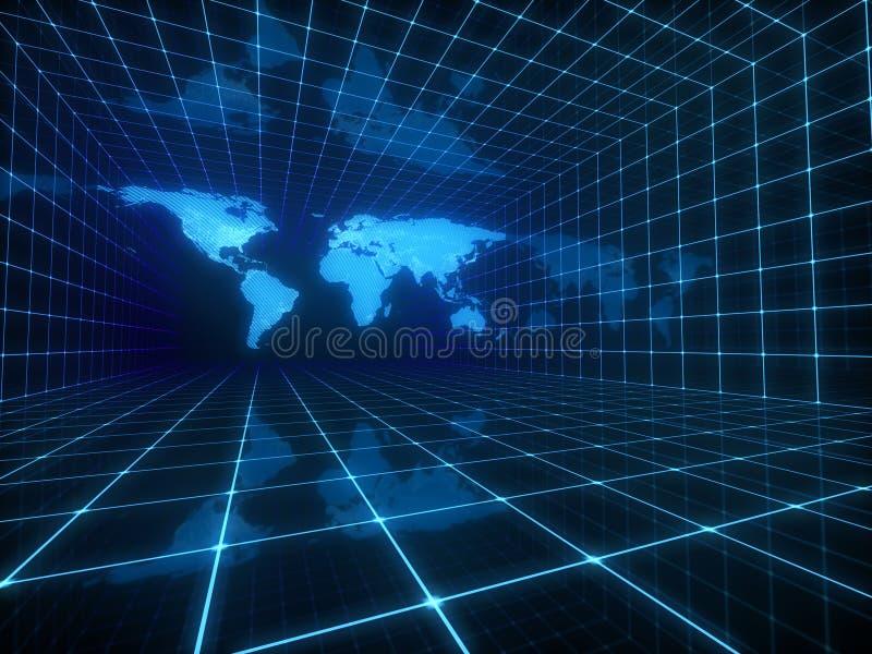Digital world map vector illustration