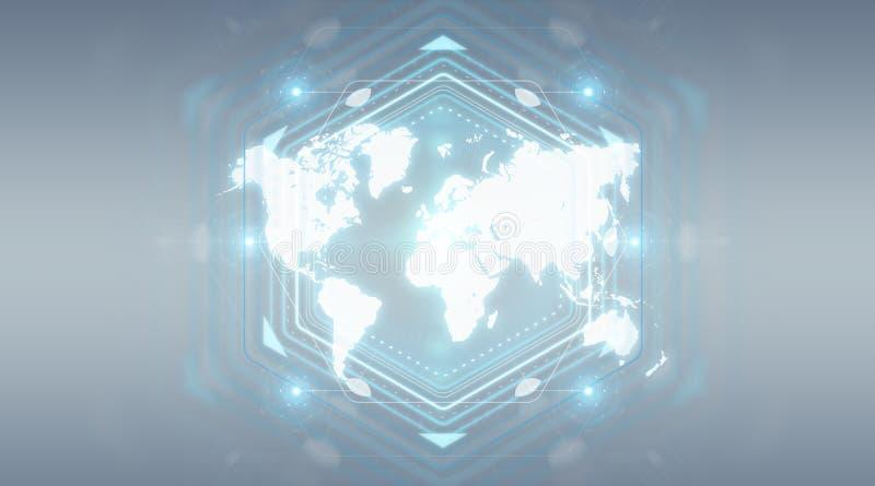 Digital world map screen interface 3D rendering vector illustration