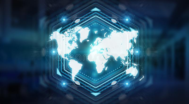 Digital world map screen interface 3D rendering. Digital world map screen interface isolated on blue background 3D rendering royalty free illustration