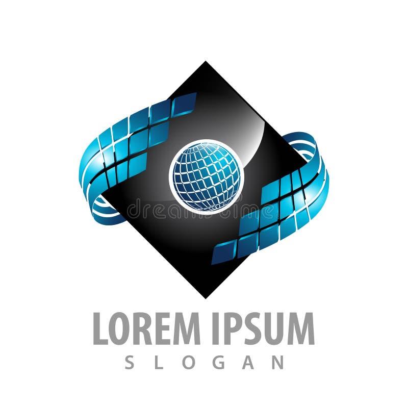 Digital world square logo concept design. Symbol graphic template element vector. Digital world square logo concept design. Symbol graphic template element stock illustration