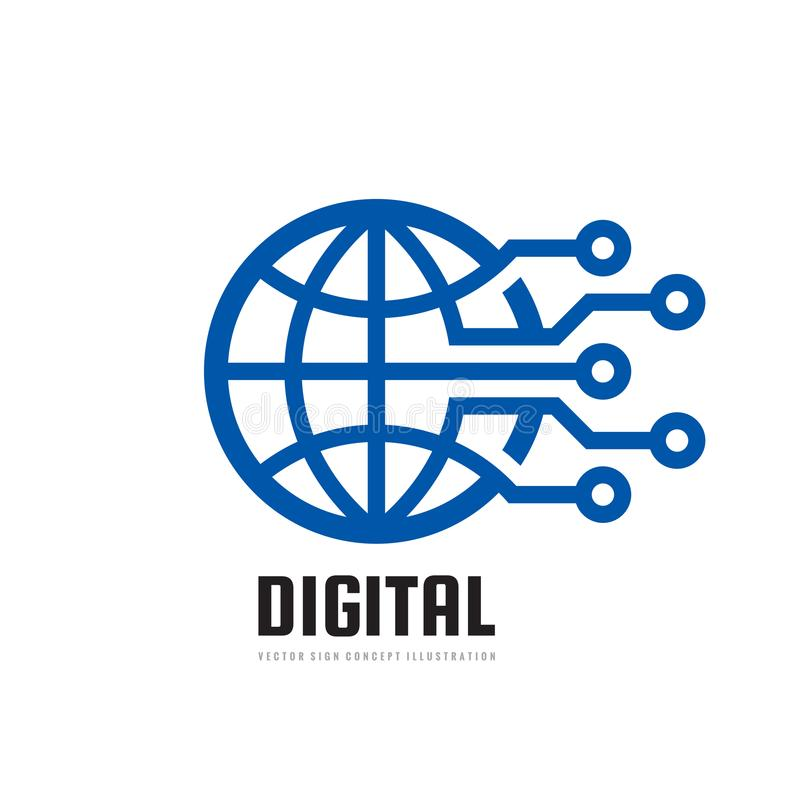 Digital world - vector business logo template concept illustration. Globe abstract sign and electronic network. Technology design elements vector illustration