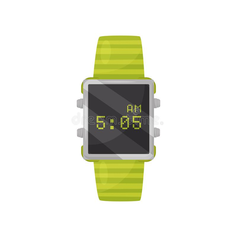 Free Digital Wrist Watch With Bright Green Bracelet And Black Square Display. Modern Device. Flat Vector Icon Royalty Free Stock Image - 131566216