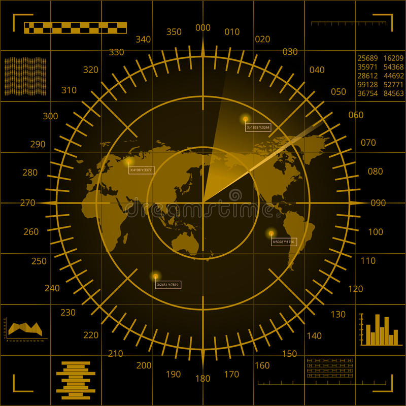 Digital yellow radar screen with world map, targets and futuristic user interface on black background vector illustration