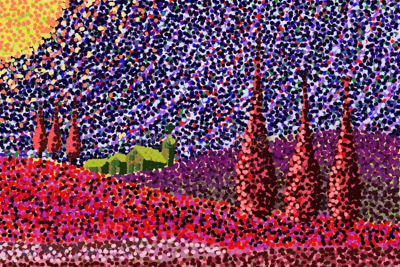 Digital-Zeichnung angespornt durch Toskana-Landschaften lizenzfreie abbildung
