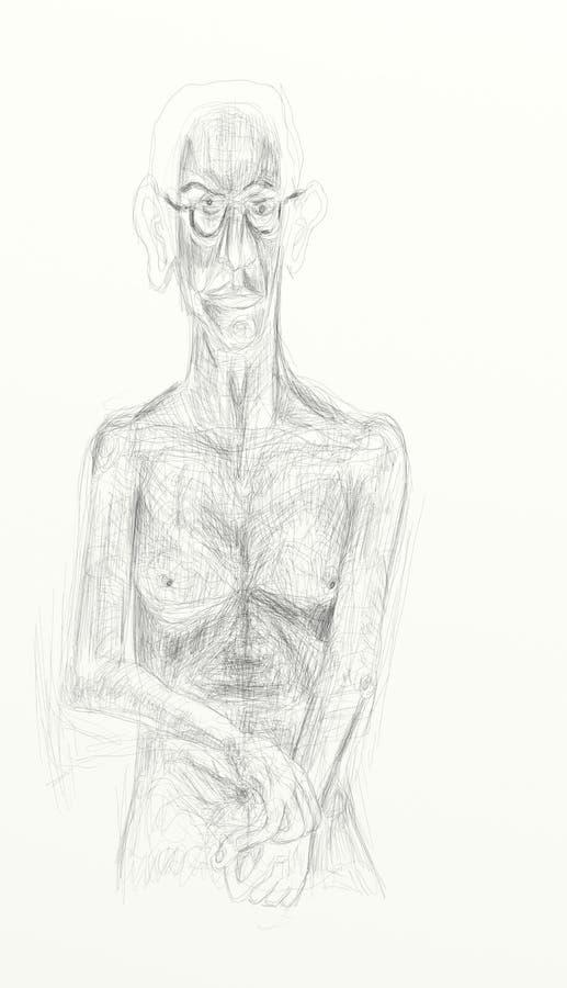 Digital-Zeichnung - Bleistift - vertikales Format, nackte menschliche Figuren darstellend, Melancholie, einsam Unbedeutende und e stockfoto