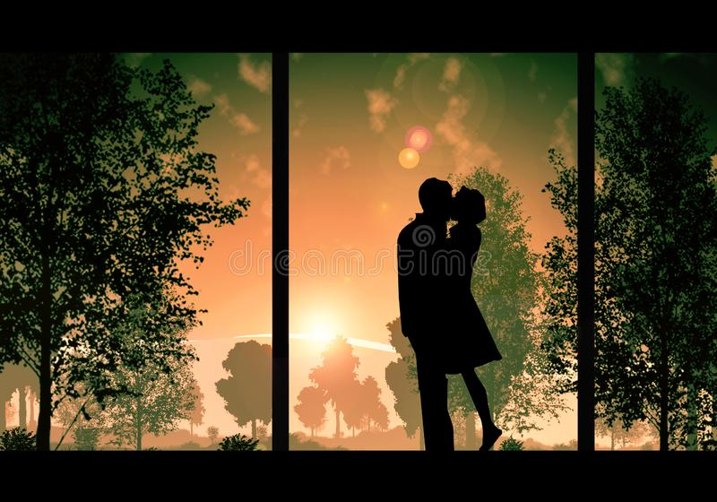 Digital-Zeichnung eines Paares, das auf einer bunten Sonnenuntergang-Ansicht vom Fenster küsst stock abbildung