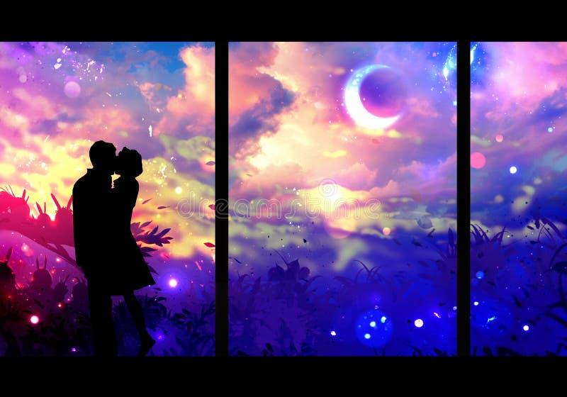 Digital-Zeichnung eines Paares, das auf einer mehrfarbigen galaktischen Ansicht vom Fenster küsst stock abbildung