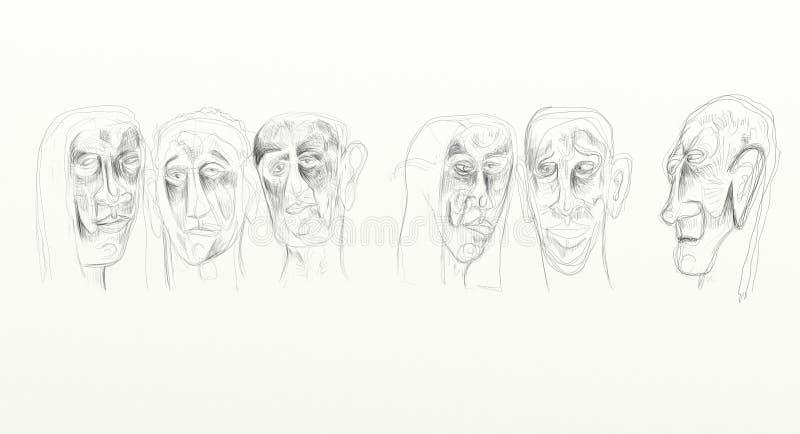 Digital-Zeichnung im Breitbildbildschirmformat, bildliche, unbedeutende, empfindlichem und fasten, die menschlichen Gesichter, di lizenzfreie stockfotografie