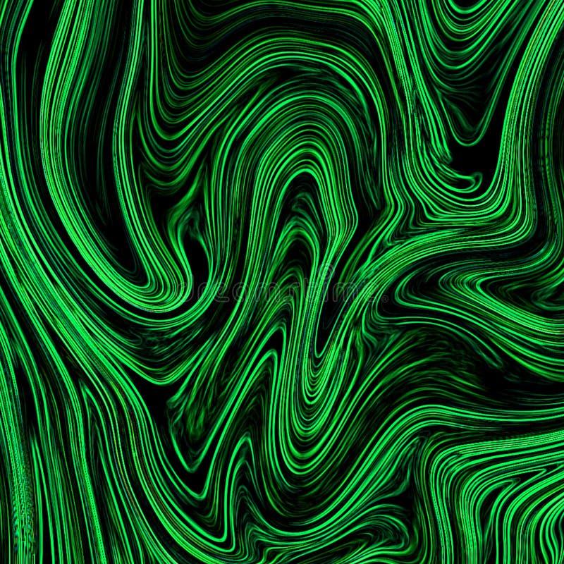 Digital zieleni abstrakcjonistyczny tło z upłynnia przepływ ilustracja wektor