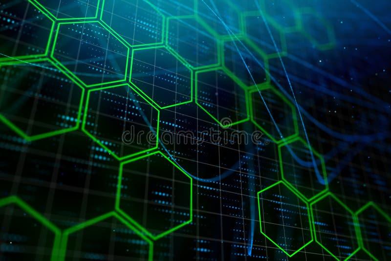 Digital zieleni sześciokąta tło ilustracji