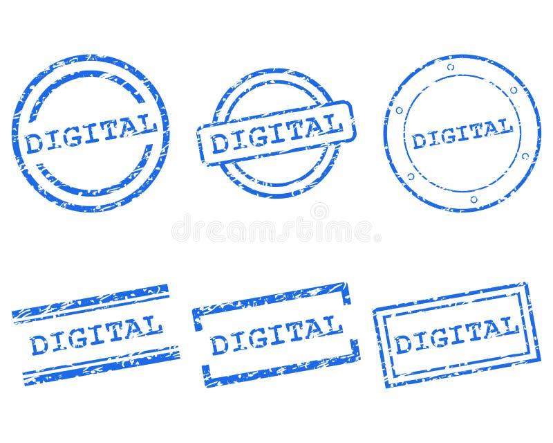 Digital znaczek na bielu ilustracja wektor