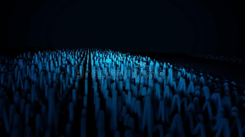 Digital, Zusammenfassung, blaue Wellen auf schwarzem Hintergrund Umfangreiche Geraden, die in Wellen, solide Erschütterungen umwa stock abbildung