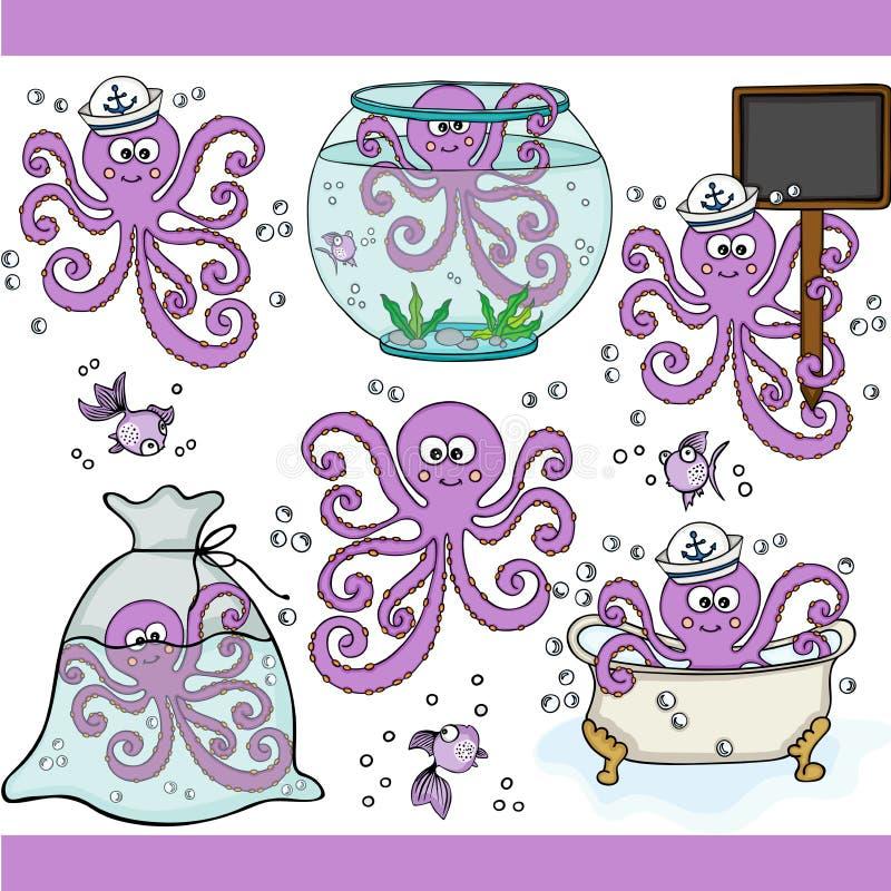 Digitala beståndsdelar för gullig purpurfärgad bläckfiskuppsättning vektor illustrationer