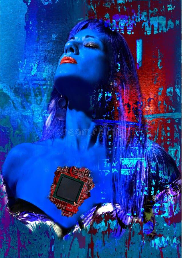 digitala hjärtakvinnor royaltyfri illustrationer
