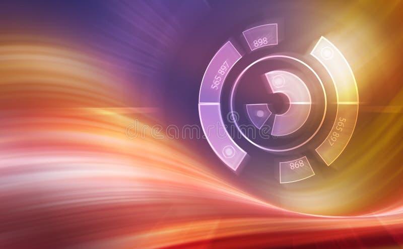 Digitala linjer med geometriformer och nummer med ljus, högteknologisk bakgrund, 3d frambragte illustrationen vektor illustrationer