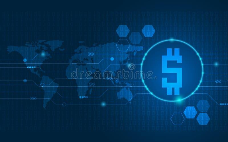 Digitala pengar för abstrakt teknologibakgrund royaltyfri illustrationer