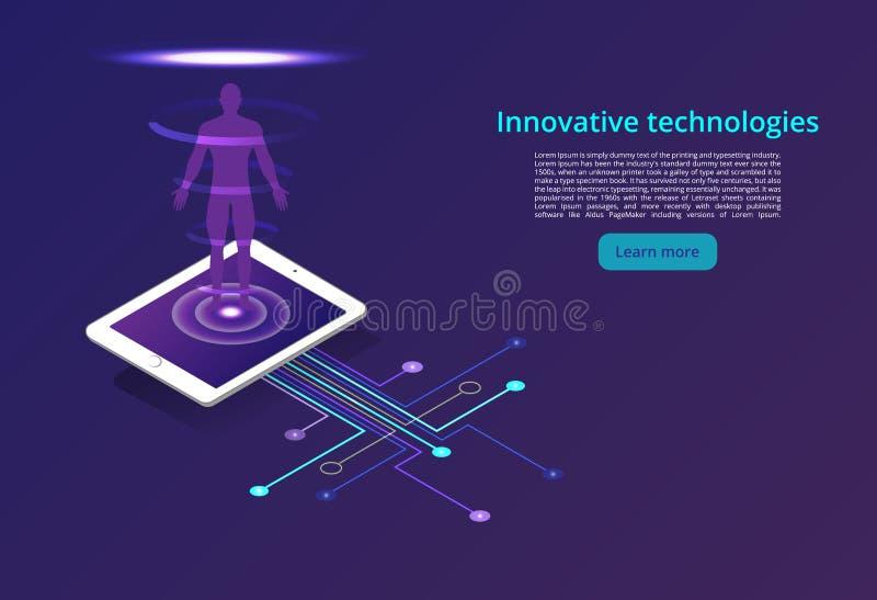 Digitala teknologier Övervakning och provning av den digitala processen Digital affärsanalys Begrepp för modern design stock illustrationer