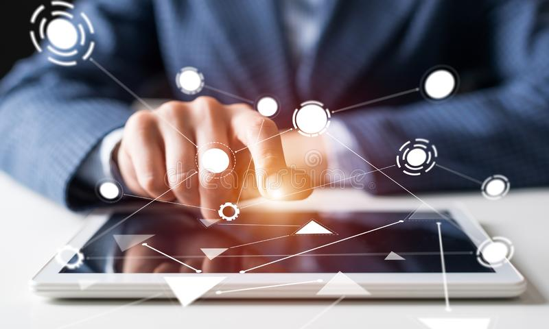 Digitala teknologier i modern aff?r arkivfoto