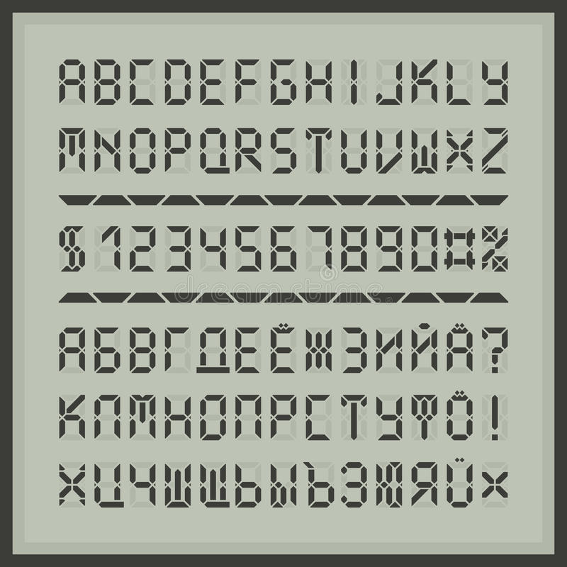 Digitalanzeigen-Gussalphabetbuchstaben und -zahlen stock abbildung