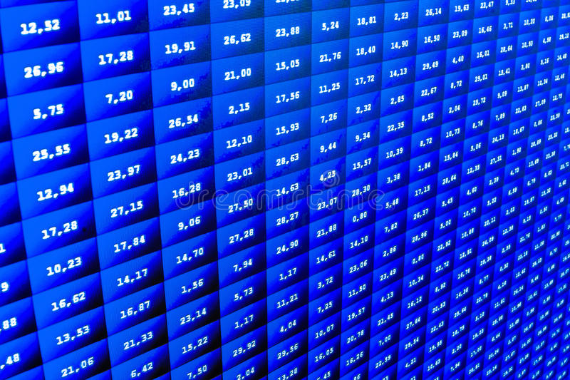 Digitalanzeigenzusammenfassung des Börsenkurses Moderne virtuelle Technologie, Illustrationsbinär code auf abstraktem Technologie vektor abbildung
