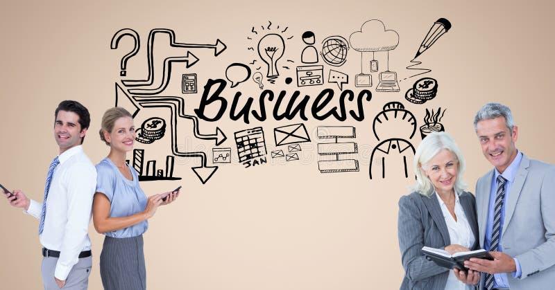 Digitalbild von Geschäftsleuten mit dem Tagebuch und intelligenten Telefonen, die Geschäftstext und Symbole a bereitstehen lizenzfreie abbildung